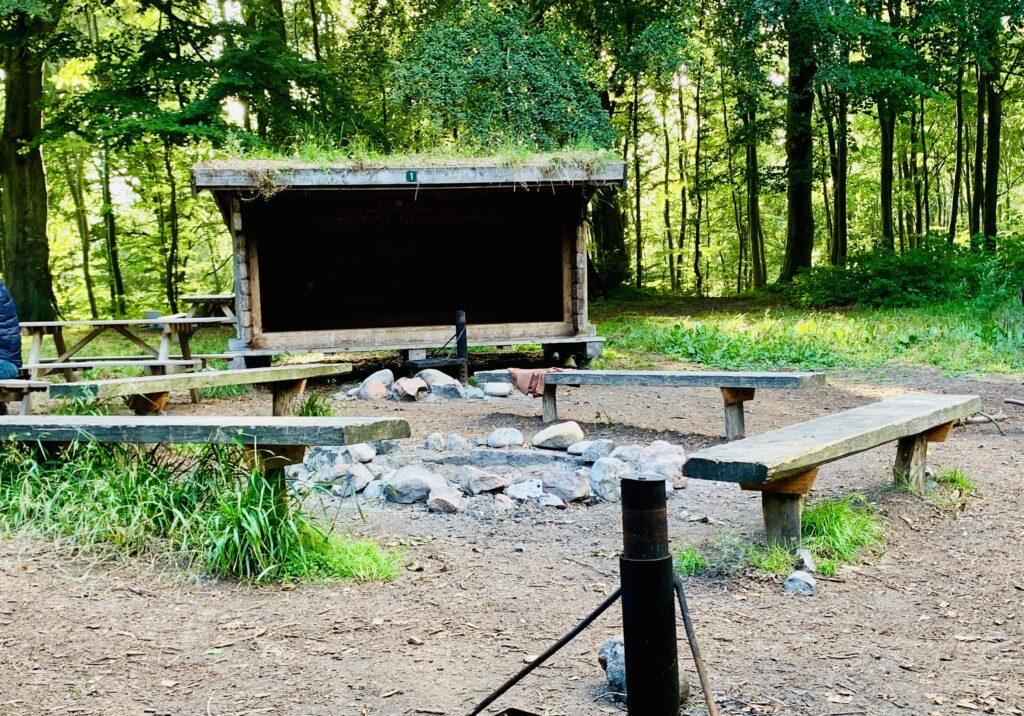 Shelterpladsen ved Møns klint på Camønoen
